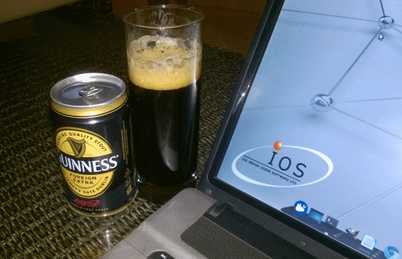 Guinness - Well deserved refreshment after the preparations and successful execution of the first ever Developers Conference in Mauritius