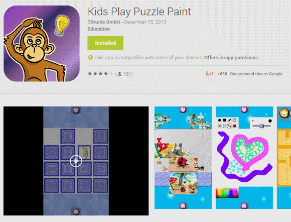 Well, children usually like Kids Play Puzzle Paint. The app seems to be available for free but in-app purchases not.