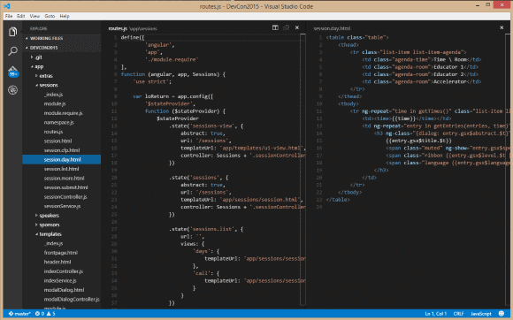 Showing source code of an AngularJS web app with controller and partial view next to each other in Visual Studio Code