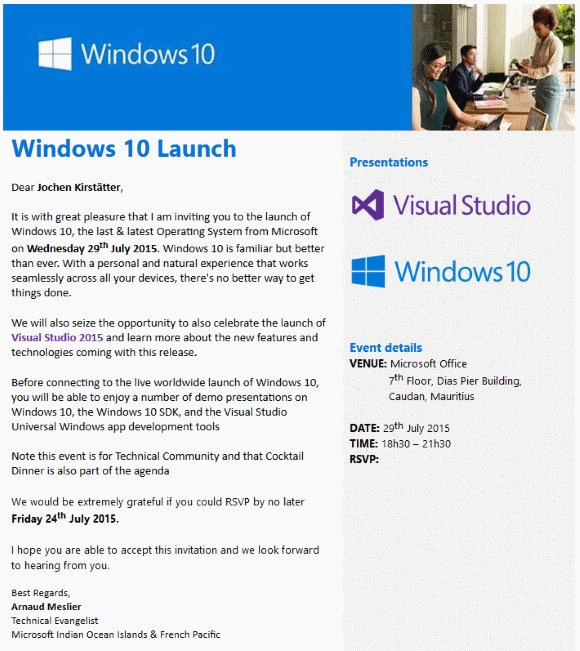 Windows 10 official event invitation at Microsoft Indian Ocean Islands & French Pacific