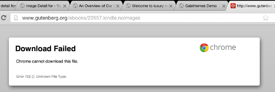 Chrome fails to open .mobi files for Kindle for iPad