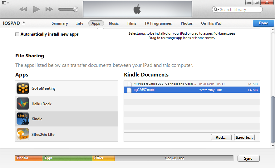 Transfer your .mobi files to your Kindle for iPad with iTunes