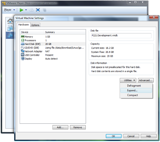 Virtual Machine Settings and ability to expand the disk capacity