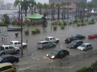 Waterfront in Port Louis flooded