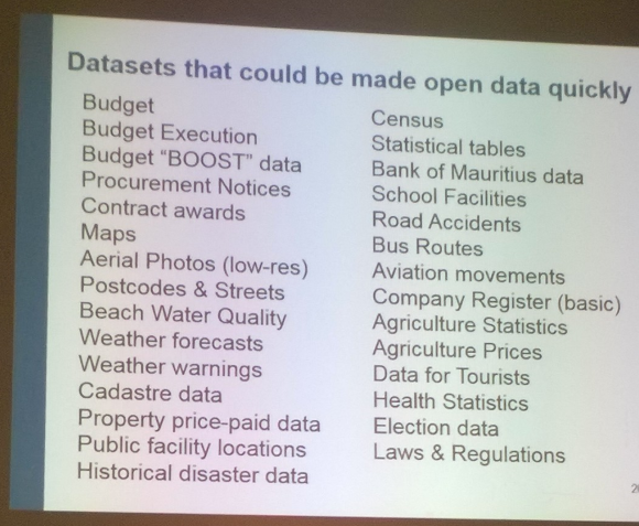 Datasets that could be made open data quickly by the government of Mauritius