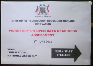 Workshop on Open Data Readiness Assessment for Mauritius organised by the Ministry of Technology, Communication and Innovation