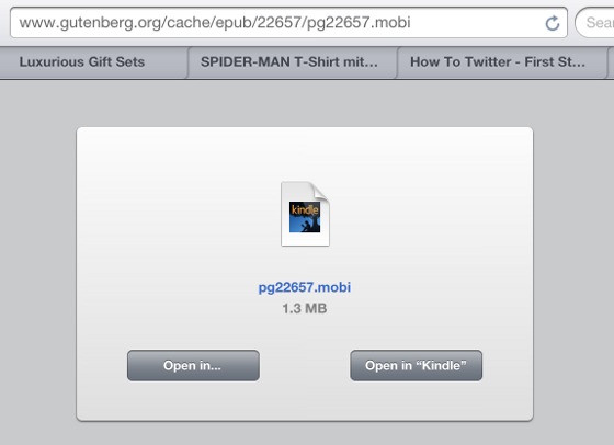 While accessing .mobi files Safari offers a dialog to 'Open in Kindle'