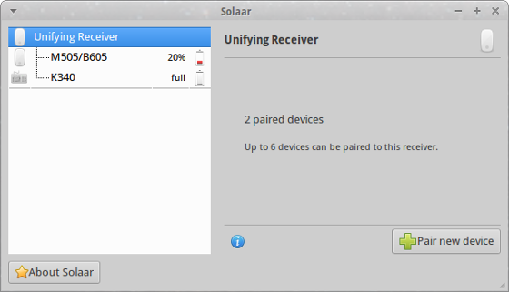 Solaar - Managing Logitech Unifying Receiver peripherals