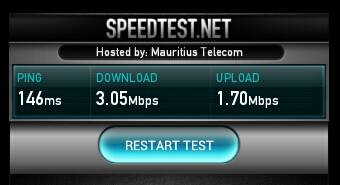 Speedtest.net result of 31.05.2013 between Cascavelle and Port Louis (Orange)