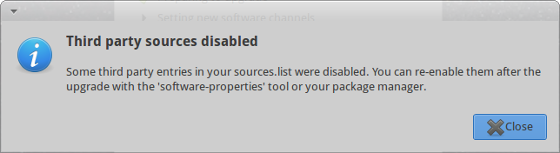 Ubuntu is playing safe and third party repositories are disabled during the upgrade