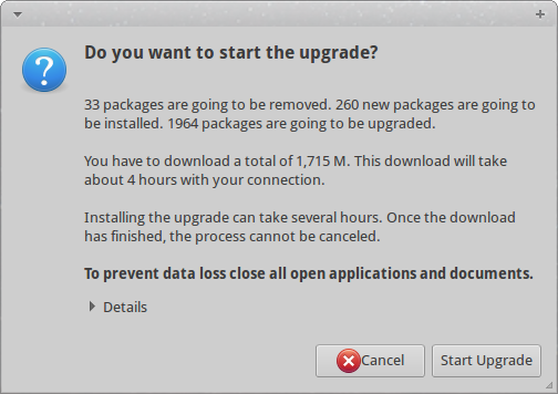 Are you really sure that you want to start the upgrade? Let's go and have fun!