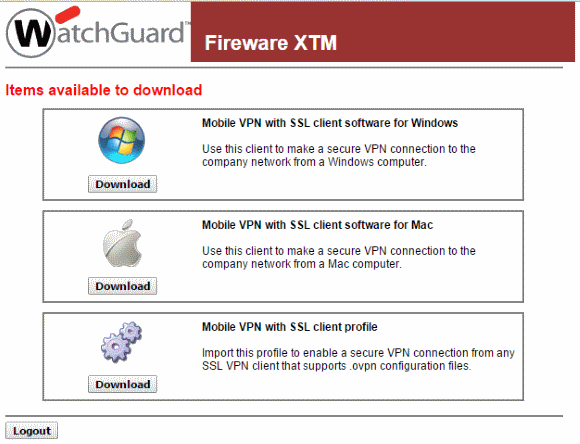 Download the Mobile VPN with SSL Client Profile directly from the WatchGuard appliance