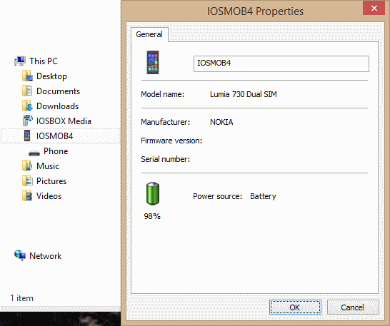 Change name of Windows Phone 8.l1 device in Windows Explorer